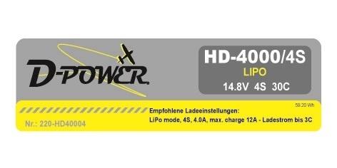 D-Power HD-4000 4S Lipo (14,8