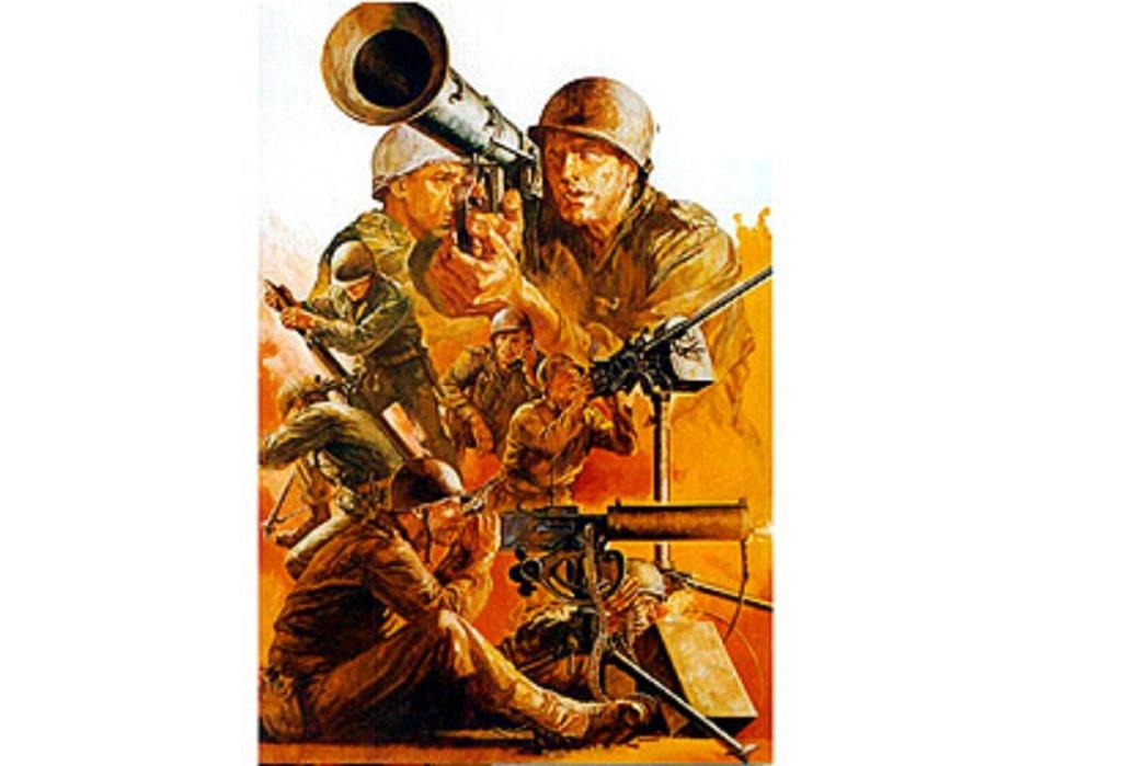 1:35 WWII Figuren-Set US MG/Mörser