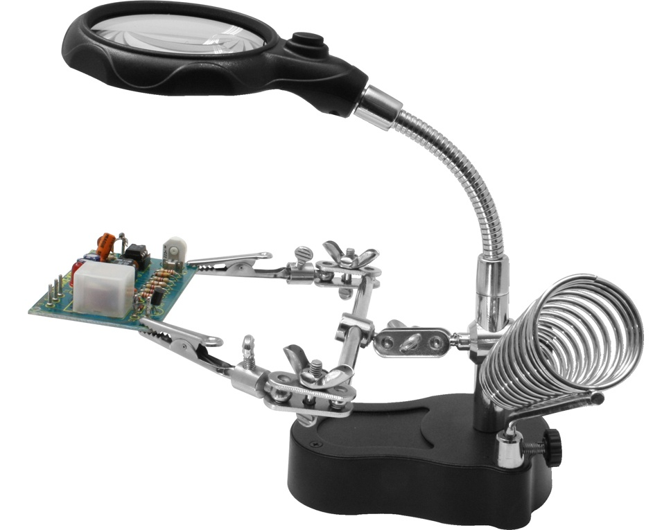 Dritte Hand mit LED-Licht + Lupe